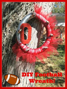 DIY Ohio State (or Any Team) Football Wreath #diy #football #ohiostate #wreath #NCAA