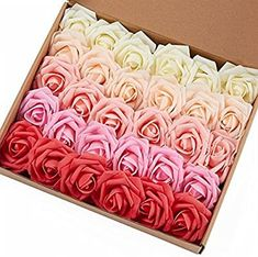 Marry Acting Artificial Flower Rose, 30pcs Ivory Champagne Light Pink Red Gradual Change Color Real Touch Artificial Roses for DIY Bouquets Wedding Party Baby Shower Home Decor Lace Bouquet, Diy Wedding Bouquet, Diy Bouquet, Wedding Flowers, Artificial Flower Arrangements, Artificial Flowers, Edible Flowers Cake, Beige Wedding, Decorated Wine Glasses