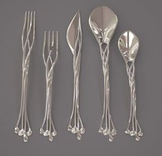 "This beautiful set of ""Setae Flatware"" was created by the folks at the Francis Bitonti Studio using the latest 3D metal printing technology. The product is"
