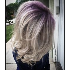 blonde shadow roots with lilac.