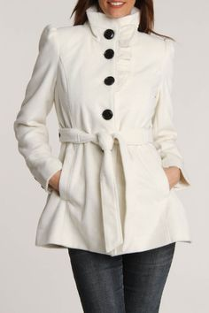 Would be cute in charcoal gray... #winter #jacket Ruffle Belted Coat