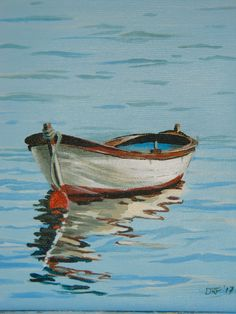 Water colour - boat and reflections