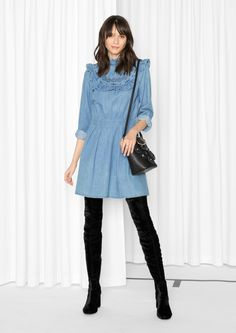 & Other Stories image 1 of Frill Denim Dress in Blue