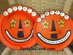 Zanny Halloween Decorations made from recycled pot lids!