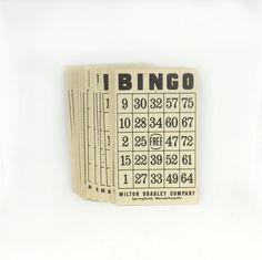 Vintage Bingo Playing Cards Decor Numbers by JoyousVintage on Etsy