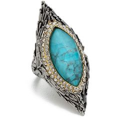 Alexis Bittar Feathered Pave Bezel Ring - Turquoise Multi (8.605 RUB) found on Polyvore