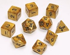 Gold Swirl Polyhedral Dice _ Set of 10 Dice $13.99 #bestseller