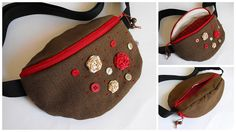 fanny pack with ribbonroses and buttons