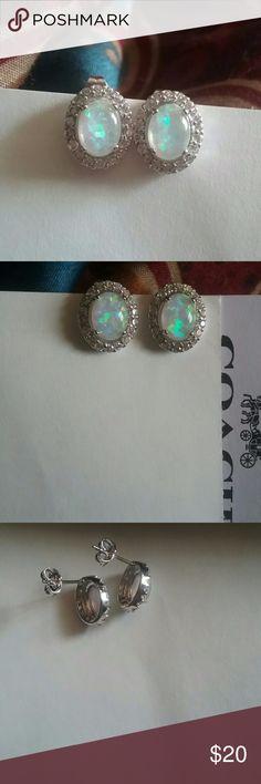 12mm Opal Earrings Brand New Not Stamped Lab Created Jewelry Earrings