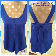"Candie's Top   Host Pick 4/8  Super cute bow on back of top.  100% Polyester silky and kind of shimmer looking.  Very nice blue color to pair with white capris.   16"" Chest measurement at underarm side to side.  26"" length from top of should to bottom. Candie's Tops Tank Tops"