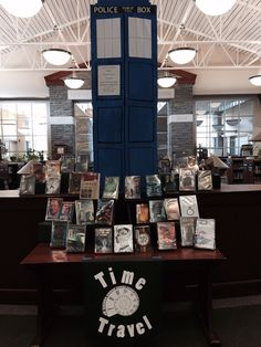 Time travel display features a tardis from Dr. Who.  It is moving every day to a new spot in the library.