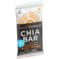 Health Warrior Chia Bar - Chocolate Peanut Butter - .88 oz Bars - Case of 15