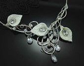 "Bridal Necklace Calla Lily Art Nouveau Bridal Jewelry Wedding Accessories ""Angelic White"""