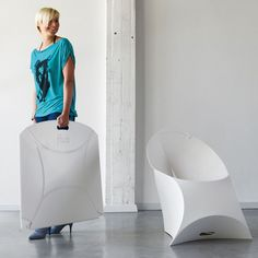 The Flux Chair. Not only are they easier to stack and store, but these flat folding chairs from Flux also look about 1000X more comfortable than the traditional stacking office chair. >> Love these!