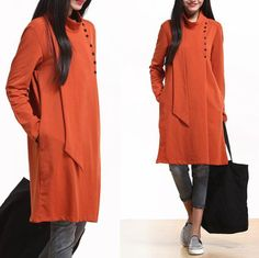 Orange personality casual shirt / Long sleeve sweater by dreamyil, $108.00
