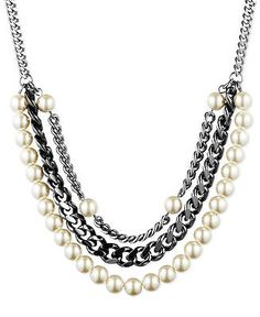 GIVENCHY-Glass-Pearl-Hematite-Silver-Tone-Multi-Row-Necklace-68
