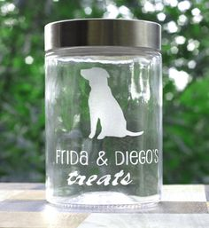 Custom Dog Treats Jar  Pet Gift  Dog Gift by lookingglassmemory, $16.00 For sure going to order a couple of these for christmas gifts.