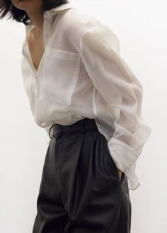 Sheer White Shirt, Sheer Blouse, White Sheer Top, White Ruffle Blouse, White Blouse Outfit, Sheer Shirt Outfits, Crepe Fabric, Facon, Aesthetic Clothes