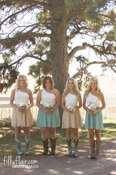 These country bridesmaid dresses with boots are what you need at your country wedding!