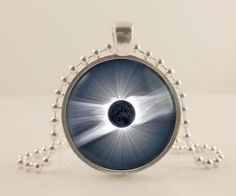 Solar Eclipse, Space, Astronomy glass and metal Pendant necklace Jewelry. -  - McKee Jewelry Designs - 1