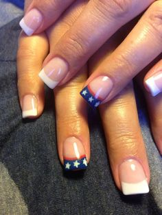 These are the simplest design but probably the most classic one: the french tip. But instead of going with a simple white tip, you can play with it and create a flag-inspired tip.