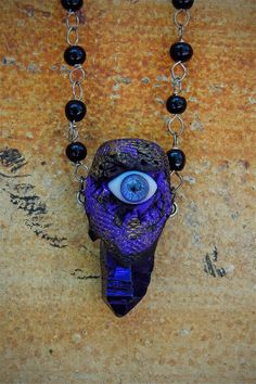 Mystical Surreal Eye Pendant Titanium Aura by VioletSerpentine, $19.00