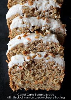 Incredible Carrot Cake Banana Bread with Thick Cinnamon Cream Cheese Frosting - made healthy with applesauce and whole wheat flour Carrot Banana Cake, Cinnamon Banana Bread, Healthy Carrot Cakes, Cinnamon Crunch, Apple Bread, Pumpkin Bread, No Bake Desserts, Just Desserts, Delicious Desserts