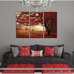 Τρίπτυχος πίνακας σε καμβά (multipanel), Red forest.Σύγχρονη διακόσμηση,το σχέδιο μοιράζεται σε 3 πίνακες.Κορυφαία ποιότητα,οικονομική τιμή. Χιλιάδες διαθέσιμα σχέδια.Ανεβάστε και την δική σας εικόνα