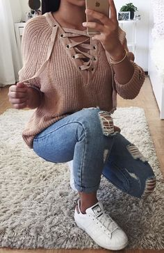 Blush Lace-up Knit + Destroyed Skinny Jeans + White Sneakers Outfits for Teens Trendy Summer Outfits, Cute Fall Outfits, Fall Winter Outfits, Outfits For Teens, Spring Outfits, Casual Outfits, Outfit Summer, Winter Style, Hipster School Outfits