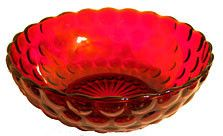This is a 40s 50s 60s era large berry bowl in the Bubble or Provincial pattern made by Anchor Hocking. The color is Royal Ruby and it measures 8.25 inches across. This bowl is in nice condition with n