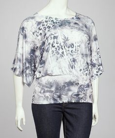 Take a look at this Black & Blue Sublimation Plus-Size Dolman Top by Simply Irresistible on #zulily today!