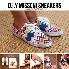 These DIY missoni shoes are easy and cute. They look exactly like the real missoni shoes. These are a cheap DIY for designer shoes. Get the Missoni look now Chevron Shoes, Aztec Shoes, Missoni, Mode Online Shop, Diy Vetement, Painted Shoes, Painted Sneakers, Diy Clothing, Create Clothing