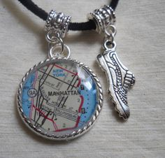 Running Pendant Necklace World Map of Any Location by Nevertoofar, $16.00