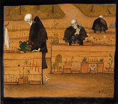 The Garden of Death. The Garden of Death (watercolor and gouache) by Hugo Simberg. Death and the Afterlife by Cliff Pickover Art And Illustration, Memento Mori, Memes Arte, Classical Art Memes, Video Streaming, Danse Macabre, Hirst, Oeuvre D'art, Gouache