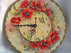 Pulkstenis ar faktūru no celtniecības špakteles - Ideju tarba - draugiem. Clock Painting, Clock Art, Sculpture Painting, Diy Clock, China Painting, Wall Clocks, Decoupage Vintage, Antique Clocks, Antique Plates