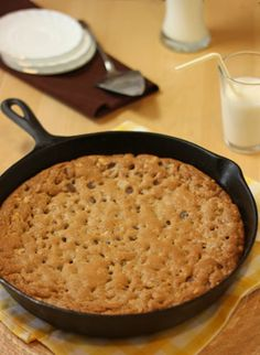 Giant Chocolate Chip Cookie in a Cast Iron skillet! I can't wait to own one of those :)