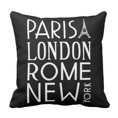 Paris, London, Rome and New York Pillow Paris Room Decor, Paris Rooms, Paris Bedroom, Paris Theme, Bedroom Themes, Bedroom Ideas, Bedrooms, Bedroom Stuff, Dream Bedroom