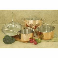 Found it at Wayfair - Professional Quality Copper Tri-Ply 8 Piece Cookware Set Copper Cookware Set, Kitchen Cookware Sets, Stainless Steel Casting, Stainless Steel Oven, Copper Cooking Pan, Pro Cook, Copper Mirror, Pots And Pans Sets, How To Cook Asparagus