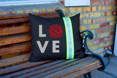 LOVE Maltese Cross BLACK Pillow Firefighter Themed Decor Personalized