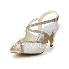 Wedding Shoes - $61.90 - Women's Satin Cone Heel Peep Toe Sandals Slingbacks With Sparkling Glitter (047034351) http://jjshouse.com/Women-S-Satin-Cone-Heel-Peep-Toe-Sandals-Slingbacks-With-Sparkling-Glitter-047034351-g34351