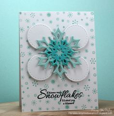Playing along with this week's CASE Study Challenge. It feels like so long since I have played but I didn't want this month to end . Snowflake Cards, Snowflakes, Cardmaking And Papercraft, Clear Stamps, Christmas Cards, Projects To Try, Card Making, Paper Crafts, Case Study