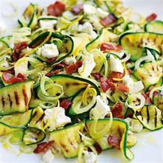 Warm salad of griddled courgettes, fennel, goat's cheese and bacon recipe. The courgettes and fennel make this salad fresh and light while bacon and goat's cheese mean this is hearty enough for a main meal.: