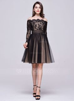 A-Line/Princess Off-the-Shoulder Knee-Length Ruffle Bow(s) Zipper Up Sleeves Long Sleeves No Black Winter Spring Summer Fall General Plus Tulle Lace Homecoming Dress