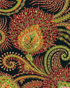 'Holiday In Kashmir - Paisley Festivities - Black/Gold'