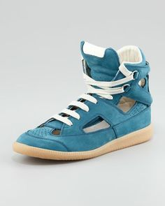 I think I mite be in <3 lol    Cutout High-Top Sneaker, Blue by Mason Martin Margiela at Neiman Marcus.
