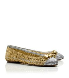 Tory Burch Carlyle Metallic Flat : Women's Flats | Tory Burch