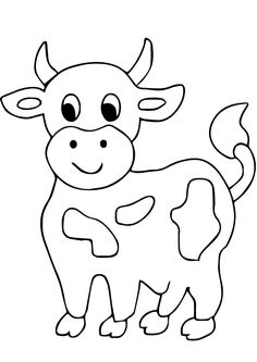 Cow Coloring Pages Free Printable from Animal Coloring Pages category. Printable coloring pages for kids that you can print out and color. Check out our series and print out the coloring pages for free. Farm Animal Coloring Pages, Coloring Book Pages, Printable Coloring Pages, Coloring Pages For Kids, Art Drawings For Kids, Cute Animal Drawings, Drawing For Kids, Easy Drawings, Applique Templates