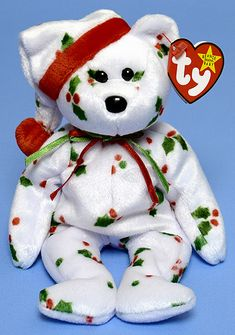e3a63b1af2e 1998 Holiday Teddy - Bear - Ty Beanie Babies Beanie Bears