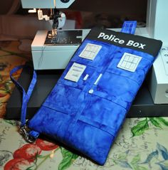 OMG LOOK AT THIS! Made by Marsha from my tutorial here: http://www.dogundermydesk.com/2012/11/police-box-wristlet-tutorial/ –  tardis wristlet-mkl by coolquilting, via Flickr