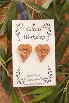 Set of two Hand made Greek olive wood heart by ellenisworkshop, $14.00